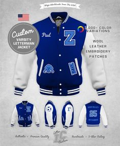 Leather Embroidery, Embroidery Patches, Diamond Quilt, Blue Wool, Collar And Cuff, Leather Jacket, Leather Sleeves, Cowhide Leather, Street Wear