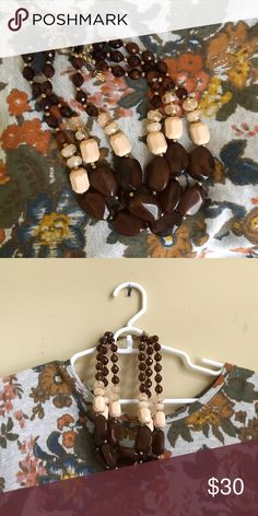 Brown beaded chunky necklace Anthropologie Inspired Necklace. Chunky. Great staple piece. Anthropologie Jewelry Necklaces