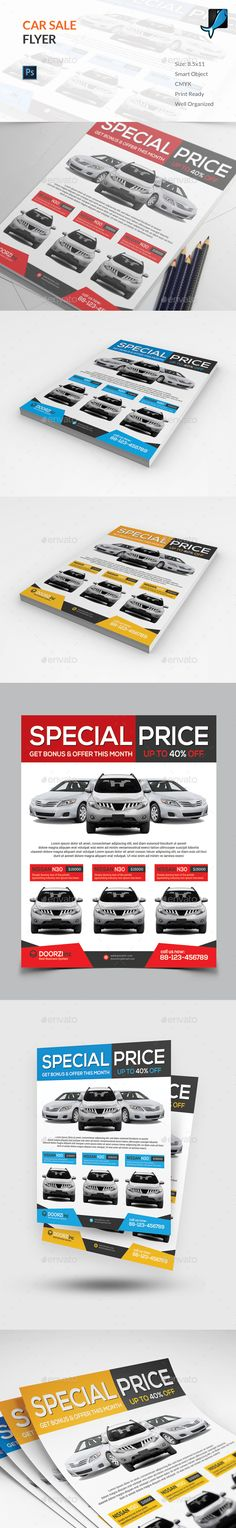 Flyer templates with green and yellow shapes Premium Vector - car for sale template
