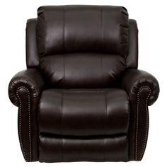 Flash MEN-DSC01072-BRN-GG - Plush Brown Leather Rocker Recliner | Sale Price: $441.75