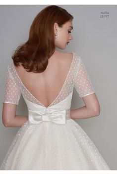 NELLIE 1950s Tea Length Polka Dot Short Vintage Wedding Dress With Sleeves