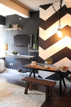 I'm all about that chevron accent wall. What would you call this design style? Organic industrial?