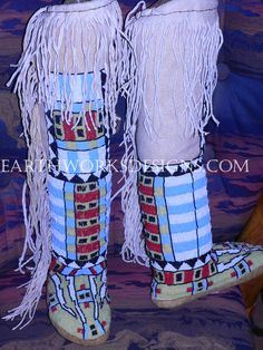 native american beadwork | beadwork close up left boot front view beadwork close up