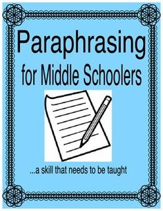 Paraphrasing activities for middle school lessons