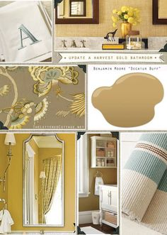 Bathroom Fixtures Colors working with (not against!) a harvest gold colored toilet, sink