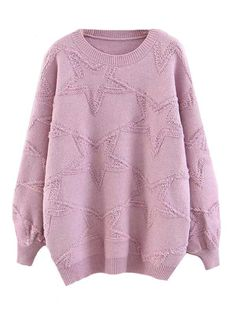 3ec412e3ffcd0 FREE GIFT + 3 COLORS  GLISSIE  STAR PATTERNED CREWNECK SWEATER TOP