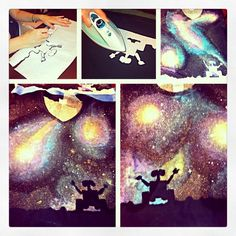 Wall • E Galaxy DIY shirts. Step 1-trace image on to freezer paper. Step 2-iron freezer paper to shirt. Step 3-paint a galaxy with fabric paint. Step 4-iron over paint to seal. Step 5-wash and Ta-dah...ENJOY!!!