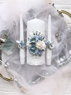 Dusty Blue Wedding Decor Lace Unity Candle Dusty Blue Wedding Centerpiece Crystal Unity Candle Set B Unique Candle Holders, Unique Candles, Large Candles, Floating Candles, Candle Set, Blue Wedding Decorations, Blue Wedding Centerpieces, Wedding Unity Candles, Card Box Wedding