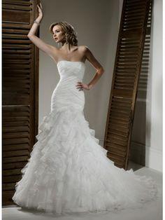 A-ligne sans bretelles robe de mariage en organza
