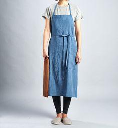 For expert full linen apron Swedish Petrol Blue / by aroundLINEN