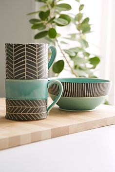 Jessica Wertz X UO Chevron Hand-Carved Mug - Urban Outfitters #UOonCampus #UOContest