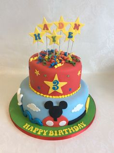 2 tier Mickey Mouse clubhouse cake (no character figures)
