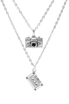 Cassette & Camera Pendant Necklace Set