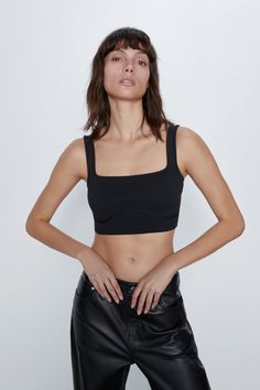 Straight neck top with wide straps. Cropped Tops, Cropped Pants, Zara Spain, Zara Home Stores, Zara United States, Zara Women, Mannequin, V Neck Tops, Satin