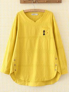 Embroidery Cat Hollow Out Loose Cotton Shirt for Women can cover your body well, make you more sexy, Newchic offer cheap plus size fashion tops for women Mobile. Plus Size Outerwear, Plus Size Cardigans, Plus Size Blouses, Plus Size Tops, Short Shirts, Loose Shirts, Shirt Embroidery, Flower Embroidery, Blouse Styles