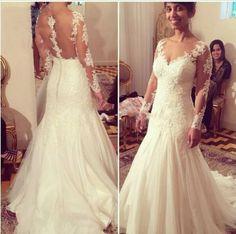 Ausschnitt-lange-Armel-Brautkleid-Spitze-Ballkleid-Hochzeitskleid ...