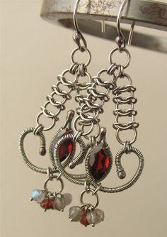 Wire Wrapped Gemstone and Chainmaille Earrings  by lonerockjewelry, Etsy