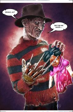 Freddy Krueger, from A Nightmare on Elm Street film series, as played by Robert Englund, Illustration by David De Bartolome. 2016.