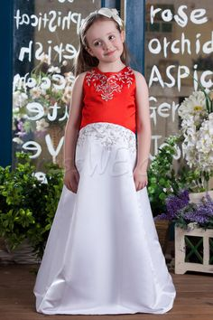 Dresswe.com SUPPLIES Elegant A-Line Round-neck Floor- Length Flower Girls Dress 2013 Style Inexpensive Flower Girl Dresses