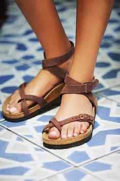 Shop Women s Birkibuc Yara Leather Sandal in Mocha by Birkenstock on  Country Club Prep with free 88719d9278f