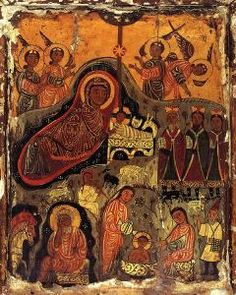 Leading from Medieval to Renaissance paintings incorporating the Henu Barque ? The Nativity icon, St Catherine's Monastery, South S. Religious Icons, Religious Art, Saint Catherine's Monastery, Renaissance Paintings, Byzantine Art, Orthodox Icons, Medieval Art, Sacred Art, Christian Art