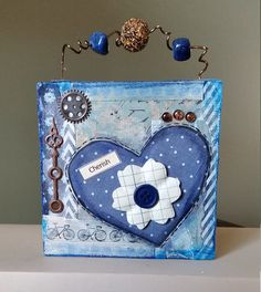Mixed Media Heart 4x4 Wood Canvas with por TheInspiredCrafter