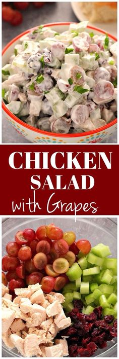Easy Chicken Salad with Grapes, celery and cranberries, tossed with light sour cream dressing. Perfect lunch you can make ahead and enjoy served in sweet rolls.www.crunchycreamysweet.com