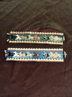 2 Painted pony bracelets I've made.Beaded by Dream Keepers.