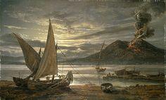 """B 179, J.C. Dahl """"Bugten ved Napoli i måneskin og Vesuv i udbrud"""""""