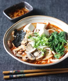 Miso Udon Noodle Soup with Spicy Korean Chili Dressing recipe by SeasonWithSpice.com