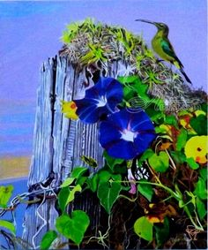 Title:Trumpet Flowers and a Sunbird; Artist Name:OLIVER MACHADO; Description:Wild Trumpet Flowers and a Sunbird on a Stump...; Art Form:Paintings; Style:Realism; Media:Acrylic; Genre:Animals,Botanical,Nature