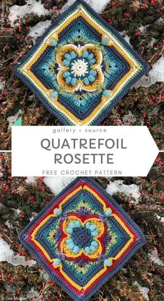 Quatrefoil Rosette Free Crochet Pattern Crochet Mandala Pattern, Granny Square Crochet Pattern, Crochet Art, Afghan Crochet Patterns, Crochet Crafts, Crochet Stitches, Crochet Projects, Free Crochet, Knitting Patterns