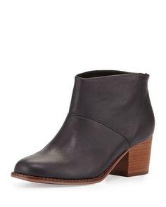 Leila+Leather+Block-Heel+Bootie,+Black+at+CUSP.