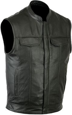 cfa8f44e1a0 Ruja SOA Sons of Anarchy Style Genuine Leather Vest