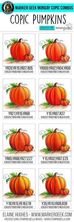 Marker Geek Monday - Copic Colour Combos for Stamping Bella Set of Pumpkins Stamp Set. Copic Marker Art, Copic Pens, Copic Art, Copic Sketch, Sketch Markers, Copics, Prismacolor, Copic Color Chart, Copic Colors