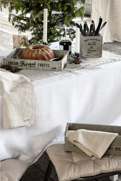 Add napkins in washed linen to your table. | H&M Home
