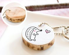 Hedgehog Wooden Keychain Cute Drawing Pet Animal Lover Gift Friendship Mom Dad Gift Handmade Keyring Heart Round Reclaimed Wood Eco Friendly