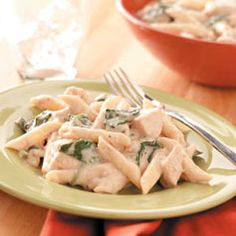 Creamy Spinach Chicken Dinner. I make this all the time and the Kids love it!! It's hard to take the leftovers to work the next day because I'm lucky If there is any!!
