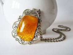 Vintage Huge Baltic Amber Pendant Necklace Genuine Honey Baltic Amber Jewelry Yellow Tribal Boho Gift for Her