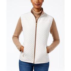 Karen Scott Reversible Fleece Vest, ($37) ❤ liked on Polyvore featuring outerwear, vests, eggshell, white vests, reversible vest, karen scott, fleece vest and white waistcoat