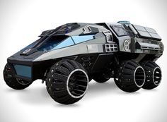NASA's mars rover concept is designed with a futuristic aesthetic that is ready to trek across mars.