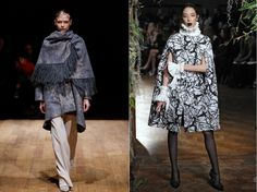 Capes seen at Josie Natori (L) in New York and  Giles (R) in London.