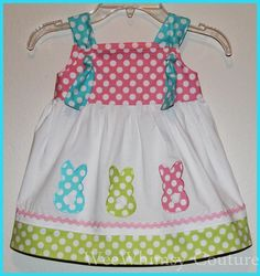 single polka dot bunny applique on a top or dress for spring / easter !!