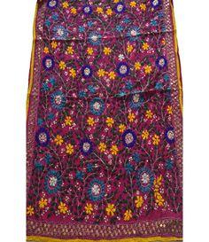 Multicolor Phulkari Work Pure Goergette Dupatta Buy Sarees Online, Vera Bradley Backpack, Pure Products, Jacket, Fabric, Women, Tejido, Tela, Jackets