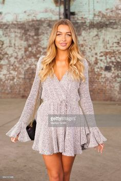 Fashion Blogger Sammy Robinson wearing a Shona Joy dress and Gucci bag during Mercedes-Benz Fashion Week Resort 18 Collections at Carriageworks on May 17, 2017 in Sydney, Australia.