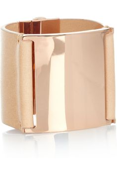 Rose gold and leather cuff