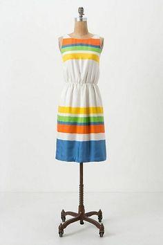 Anthropologie Essential Stripes Dress By Girls From Savoy Sz 6 Green Blue Orange #Anthropologie