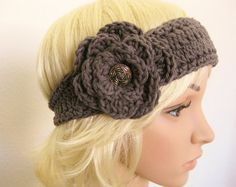 Gray Headband Crocheted with Flower-Crochet Head by RoseJasmine