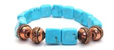 Blue Turquoise Squares and Ornate Copper Beads Stretch Bracelet | AyaDesigns - Jewelry on ArtFire