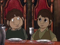 Sam and Frodo help celebrate Bilbo's 129th birthday